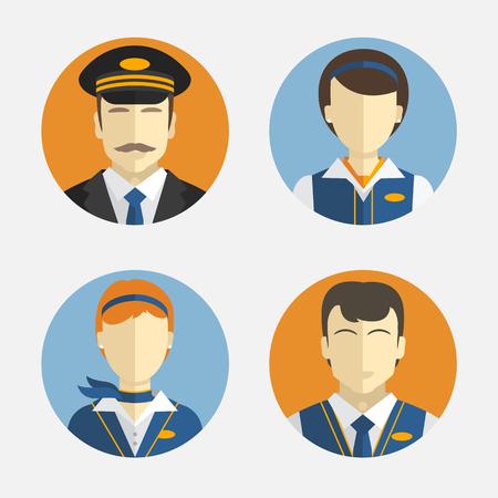 Illustration pour Vector icons depicting different Professions pilots and pretty flight attendant in uniform - image libre de droit