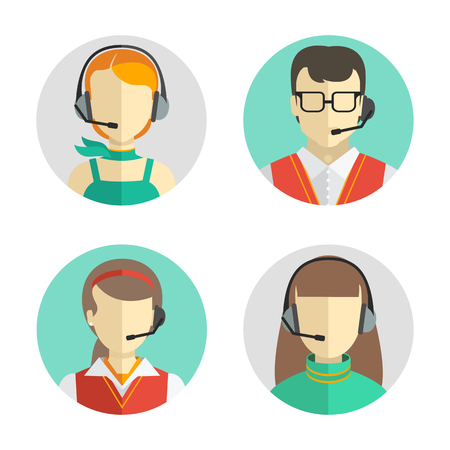Illustration pour Vector icons set  Male and female call center avatars in a flat style with a headset, conceptual of communication. - image libre de droit