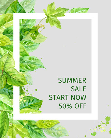 Ilustración de Illustration of summer leaves. spring sale. watercolor angular composition. - Imagen libre de derechos