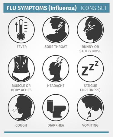 Ilustración de Vector icon set. FLU SYMPTOMS or Influenza - Imagen libre de derechos