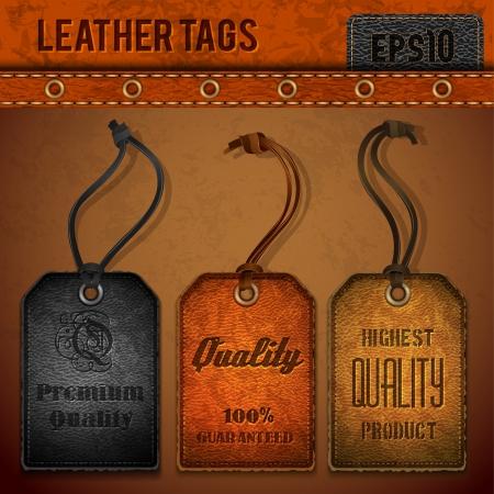 Leather tags set