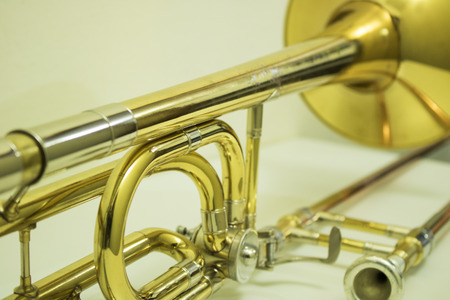 Photo for Magnificent stick trombone on the table - Royalty Free Image