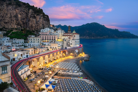 Foto de Panorama view of Atrani at the Amalfi Coast - Imagen libre de derechos