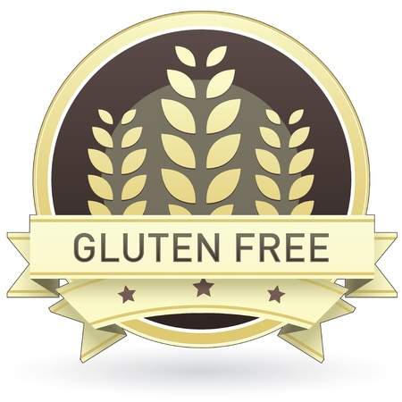 Gluten free on brown and yellow food label, sticker, button, or icon with wheat or grain background for use in print, packaging, advertising, and on websites.
