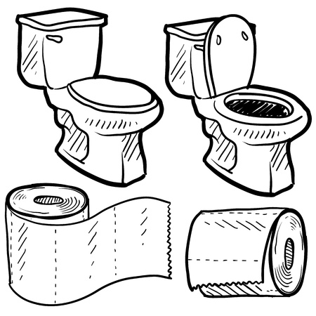 Doodle style bathroom objects illustration including toilet and paper in vector format