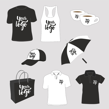 Illustration pour Promotional items. T-shirts, polo shirt, tank top, paper bag, cups, cap and umbrella. Vector illustration. - image libre de droit