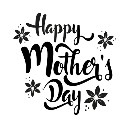 Ilustración de Happy Mother's Day lettering whit flowers. Black calligraphy on white background. Vector illustration. - Imagen libre de derechos