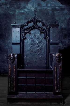 Photo for Royal throne. dark Gothic throne, front view - Royalty Free Image