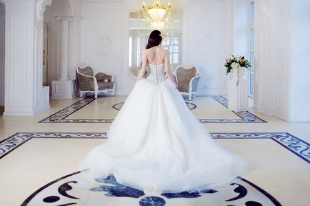 Photo pour Portrait of beautiful bride. Wedding dress with open back. Wedding decoration - image libre de droit
