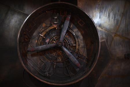 Foto de Steampunk retro background. Large propeller, rusty motor - Imagen libre de derechos