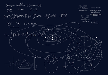 Illustration pour Formulas of classical mechanics, Newton's laws. Physics of motion of bodies, the laws of gravity and optics. Formulas on a dark background - image libre de droit
