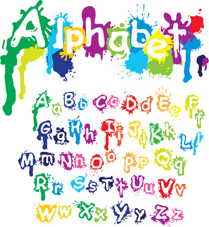 Illustration for Hand drawn alphabet - letters are made of  water colors, ink splatter, paint splash font. - Royalty Free Image