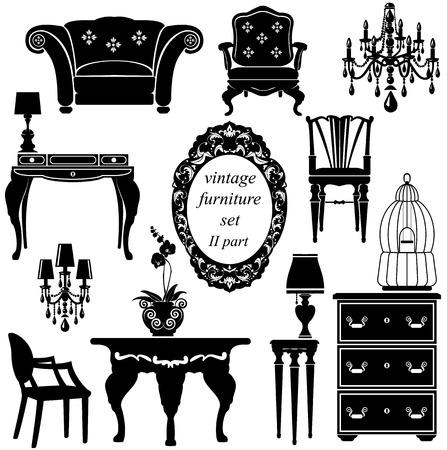 Illustration pour Set of antique furniture - isolated black silhouettes - image libre de droit