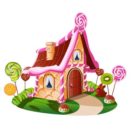 Illustration for Sweet little house with chocolate and decorated with fruit. Cheerful vector illustration. - Royalty Free Image
