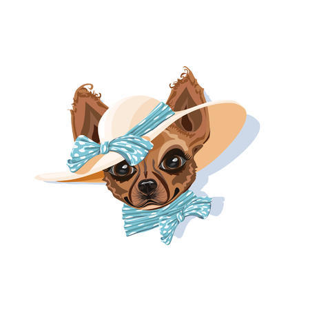 Illustration pour A dog in a summer hat. Cheerful vector illustration. - image libre de droit