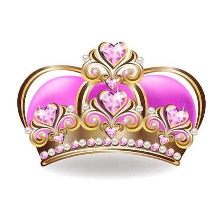 Illustration pour Crown of a princess with pearls and pink gemstones. Vector illustration. - image libre de droit