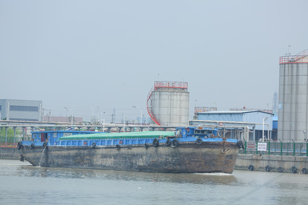 Foto per cargo ship at canal - Immagine Royalty Free
