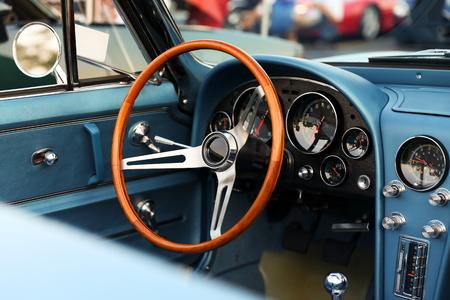 Foto de classic retro vintage blue car. Car interior - Imagen libre de derechos