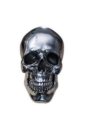 Photo pour metal chrome skull isolated on white background - image libre de droit