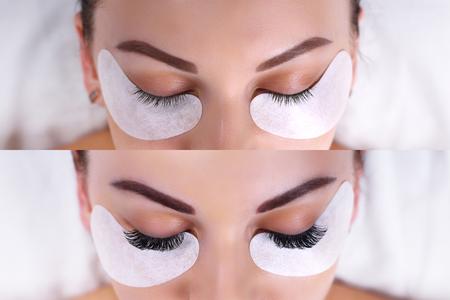 Foto de Eyelash Extension Procedure. Female eyes before and after. - Imagen libre de derechos