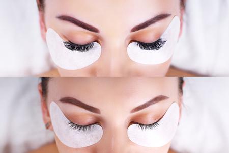 Photo pour Eyelash Extension Procedure. Female eyes before and after. - image libre de droit