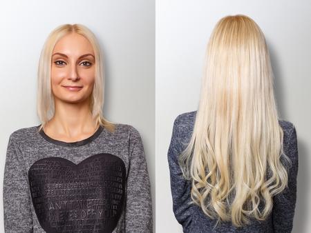 Photo pour Hair extensions procedure. Hair before and after. - image libre de droit