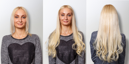 Photo for Hair extensions procedure. Hair before and after. - Royalty Free Image