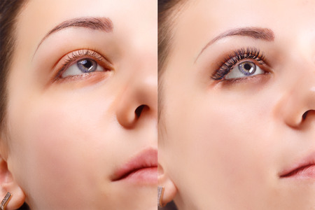 Photo pour Eyelash Extension. Comparison of female eyes before and after. - image libre de droit