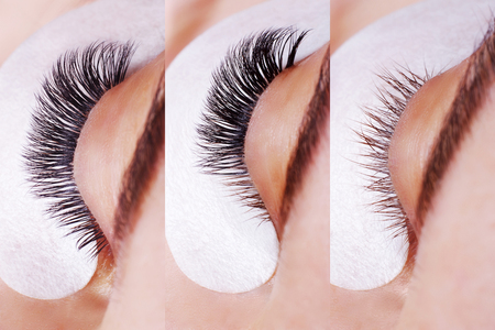 Photo pour Eyelash Extension Procedure. Comparison of female eyes before and after. - image libre de droit