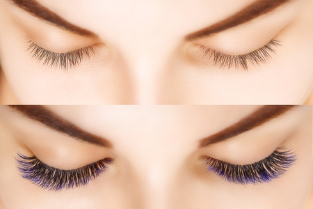 Photo pour Eyelash Extension. Comparison of female eyes before and after. Blue ombre lashes. - image libre de droit
