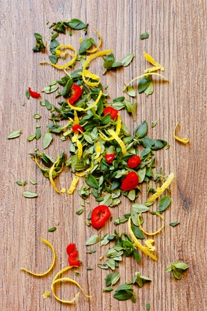 Thyme, chili and lemon peel.