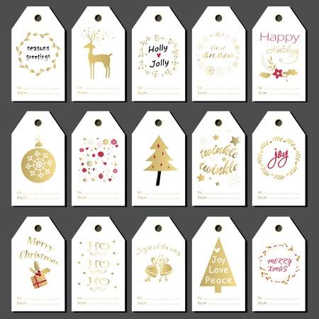 Ilustración de Christmas gift tags, stickers and labels. Hand drawn design for winter holidays. - Imagen libre de derechos