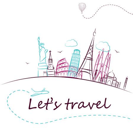 Ilustración de famous monuments of the world. Tourism banner with quote. Vector illustration - Imagen libre de derechos