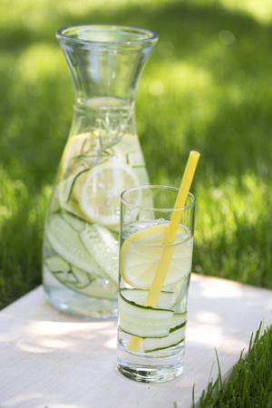 Photo for Detox water, fresh lemonade with ice, lemon and rosemary. Fresh cool lemon cucumber mint infused water, cocktail, detox drink, lemonade in a glass jar for spring summer days.  - Royalty Free Image