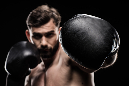 Photo for Sportsman in boxing gloves - Royalty Free Image