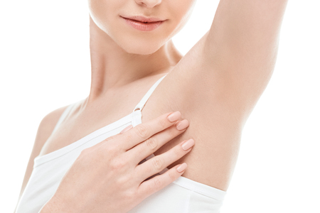Photo pour woman showing armpits isolated on white. skin care woman concept - image libre de droit