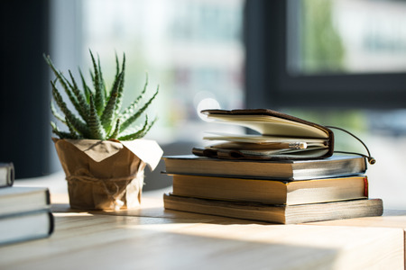 Photo for Close-up view of books, notebook with pencil and potted plant - Royalty Free Image