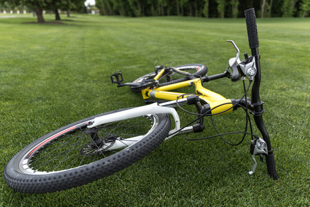 Photo for modern sport bicycle lying on grass in park - Royalty Free Image