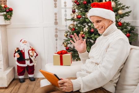 Photo pour video call during christmas - image libre de droit