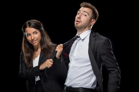 Foto de attractive businesswoman flirting with her handsome colleague - Imagen libre de derechos