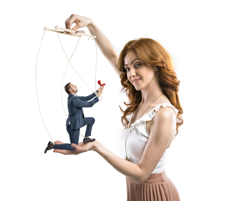 Foto de man manipulated by cunning woman to make a proposal - Imagen libre de derechos