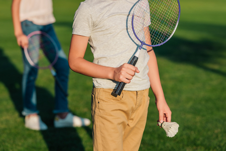 Photo for child with badminton equipment - Royalty Free Image