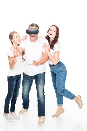 Photo pour family using vr headset - image libre de droit