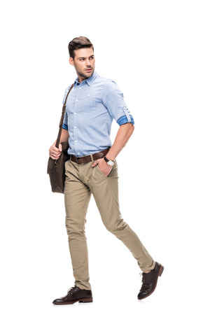 Photo for man walking with leather briefcase - Royalty Free Image