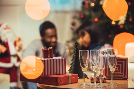 Photo for christmas gifts on table - Royalty Free Image