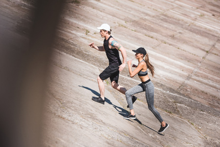 Photo for couple jogging on slabs - Royalty Free Image