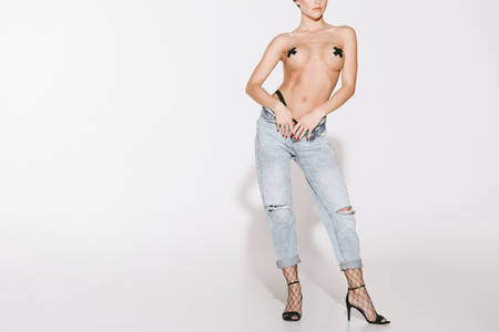 Photo for topless girl in jeans - Royalty Free Image