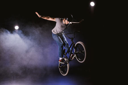 Photo for bmx cyclist performing stunt - Royalty Free Image