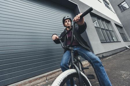 Photo for bmx biker on street - Royalty Free Image