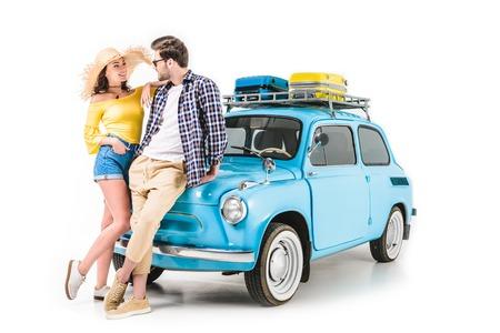 Foto de couple standing by car - Imagen libre de derechos